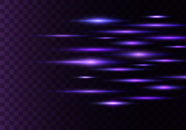 Набор цветных горизонтальных лучей, линз, линий. лазерные лучи. синий, фиолетовый светящийся абстрактный игристое выстроились прозрачный фон. вспышки света, эффект.
