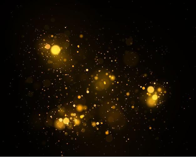 暗い黒い背景にぼけボケライト。抽象的なキラキラデフォーカス点滅星と火花。