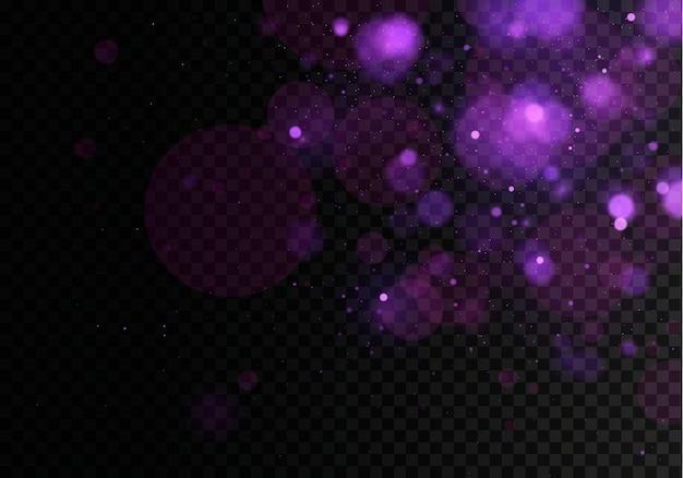 暗い黒の透明な背景にぼけボケの光。抽象的なキラキラデフォーカス点滅星と火花。