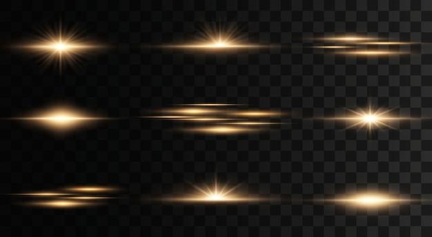 透明な背景に点滅、ライト、輝きのセット。明るい金が光り輝きます。分離された抽象的な黄金色のライト。明るい光線。