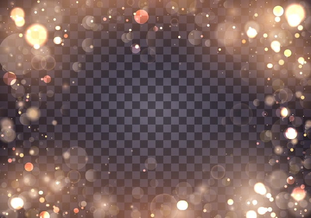 Легкие абстрактные светящиеся огни боке. боке световой эффект, изолированные на прозрачном фоне. праздничный фиолетовый и золотой светящийся фон. концепция. затуманенное светлая рамка.