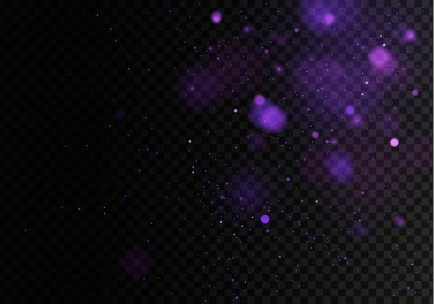 Затуманенное боке свет на темно-черном фоне. и новогодние каникулы шаблон. абстрактный блеск расфокусированным мигающие звезды и искры.