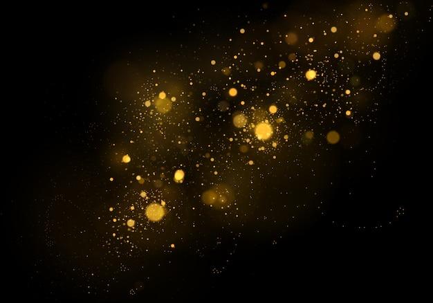 ゴールドボケ効果、ダスト粒子と抽象的な背景。
