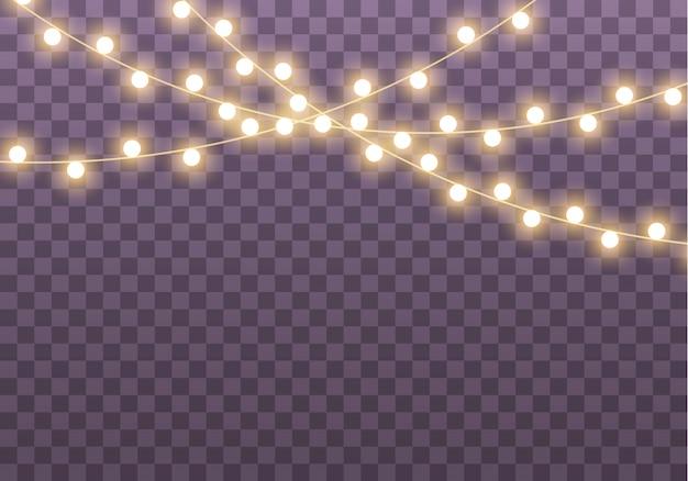 Огни, изолированные на прозрачном фоне для открыток, баннеров, плакатов, веб-дизайна. набор золотых светящихся гирлянд из светодиодов неоновых ламп иллюстрации