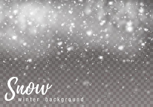 Падающий новогодний снег, снежинки. сильный снегопад.