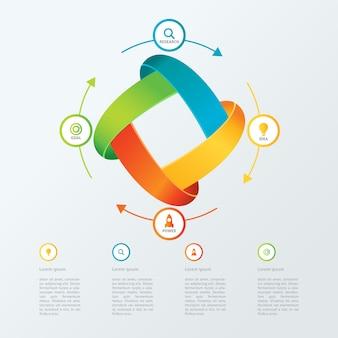クリーンな近代ビジネスインフォグラフィックテンプレート