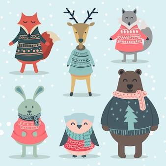 面白い冬の動物キャラクターセット