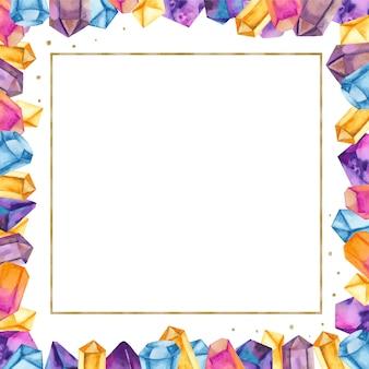 黄金の正方形のフレームで水彩の結晶