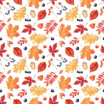 カラフルな葉と果実の水彩秋パターン