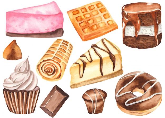 水彩風のお菓子