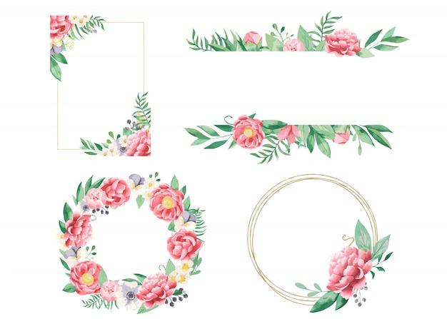 フレームと花輪の牡丹