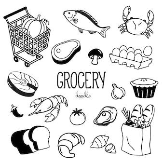 Набор рисованной продуктовых рисунков