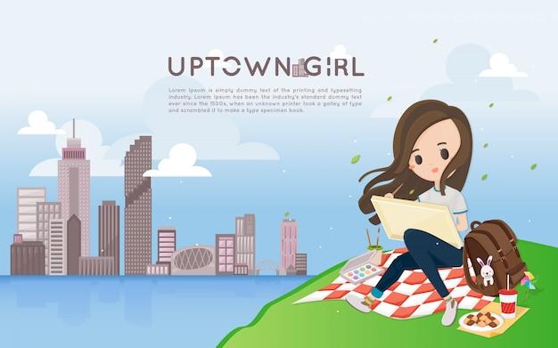 山で都市景観を描くかわいい女の子。
