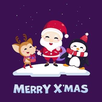 Веселая рождественская открытка с милой санта-клауса, оленей, пингвинов и подарочной коробке.