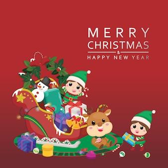 お祝いクリスマスお祝いグリーティングカード。トナカイとクリスマスデコレーションのエルフとメリークリスマス。