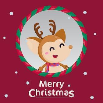 クリスマスの飾りとメリークリスマスのグリーティングカード。