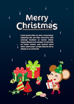 Веселая рождественская открытка с рожденственский орнамент.