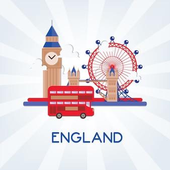 ランドマークとイラストイングランド。イングランドバナーテンプレート。