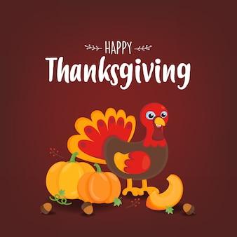 С днем благодарения поздравительная открытка. симпатичные турция с красным осенним фоном.