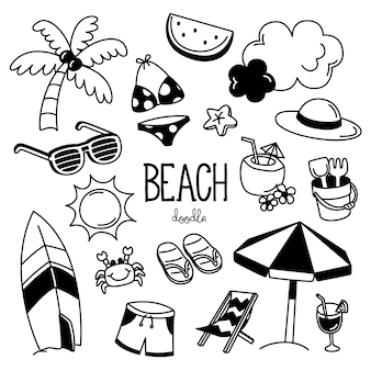 手描きのビーチアイテムのスタイル。ビーチを落書き。