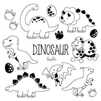 恐竜と手描きスタイル。恐竜を落書き。