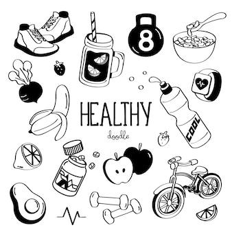 健康的なアイテムの手描きスタイル。健康的な落書き。