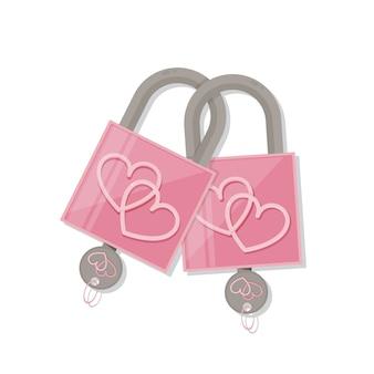 キーを持つカップルピンクのハートロック