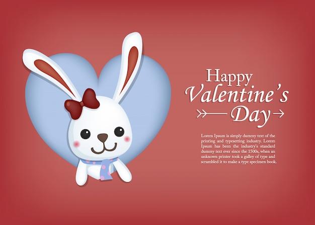 Милый кролик в рамке сердца. поздравительная открытка дня святого валентина
