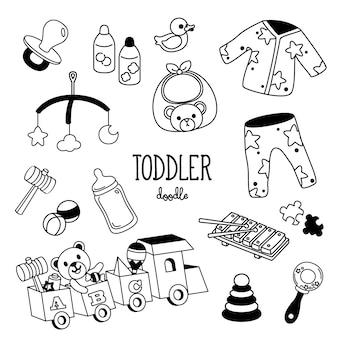 Рука рисования стилей малыша предметов. малыш каракули.