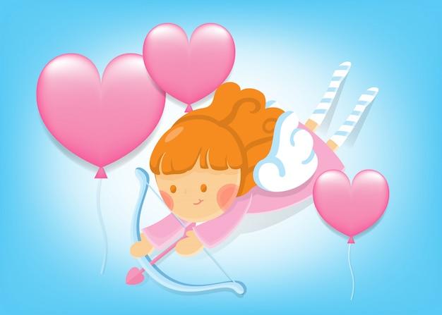 バレンタインカード。青い空にハート形風船で飛んでいる少女キューピッド