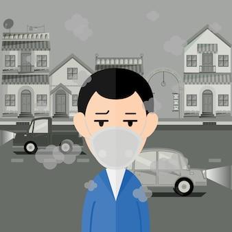 Человек носит маску для защиты от загрязнения атмосферного воздуха с городом.