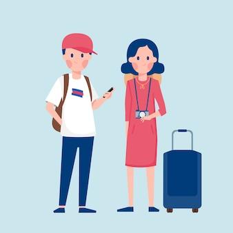 トラベルバッグとスーツケース、漫画イラストの観光客のカップル。