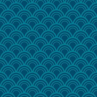 青い波のシームレスなパターン。