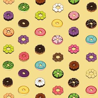 いくつかのドーナツのシームレスパターン