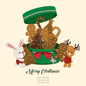 クリスマスフェスティバルを祝います。かわいい人形とジンジャーブレッド。