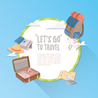 Шаблон путешествия. путешествие и туризм .
