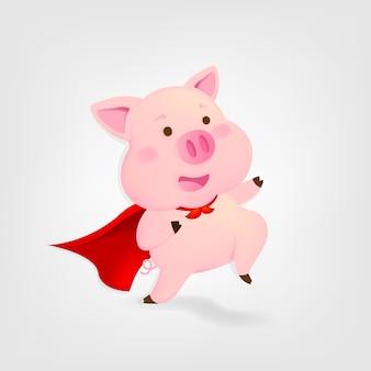 Супер свинья на белом фоне