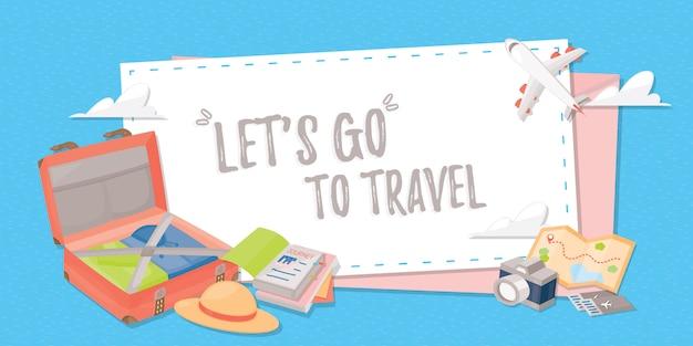 Путешествие баннер для веб, плакат или приложение.