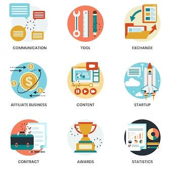 ビジネス、マーケティング、管理のためのビジネスアイコンセット