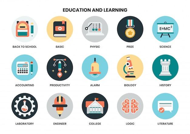 ビジネスのための教育のアイコンを設定
