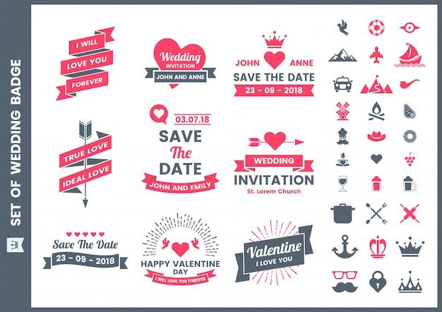 結婚式のレトロなロマンチックなバッジ、アイコンおよびサンバレンタイン用の要素セット