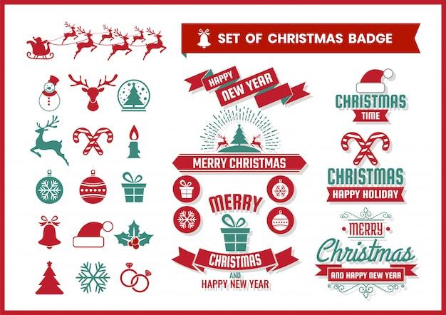 Рождественский ретро значок и элементы набора