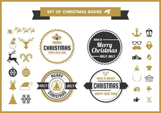 クリスマスレトロなベクトルバッジと要素セット