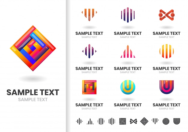抽象的な現代形のロゴセット