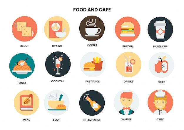 ビジネスのための食べ物やカフェのアイコンを設定します