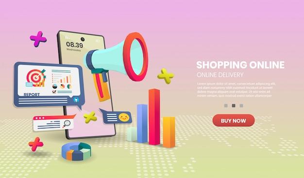 Покупки онлайн на мобильном телефоне. интернет служба доставки