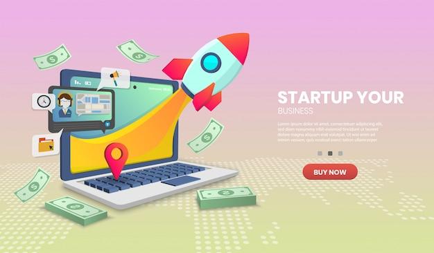 Концепция запуска на службе доставки ноутбука на веб-сайте или концепции мобильного приложения маркетинг и цифровой маркетинг.