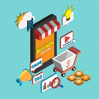アイソメグラフィックのオンラインマーケティングコンセプトのイラストレーション
