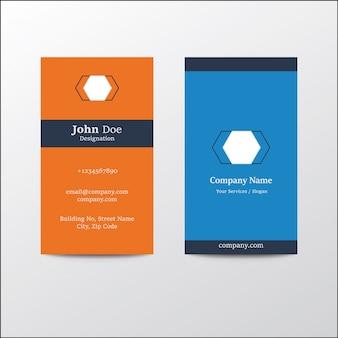モダンなクリーンフラットデザインシルバーブルーオレンジ色の垂直ビジネス訪問カード