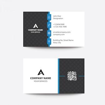 クリーンフラットデザイン黒と青の企業のビジネス訪問カード